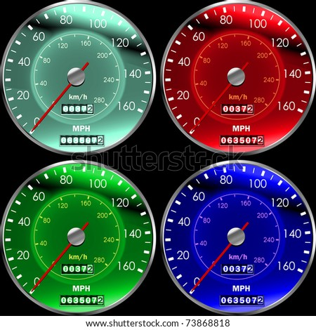 Speedometers or dashboard for cars colors - stock vector