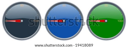 Speedometers with dials and reflection - stock vector