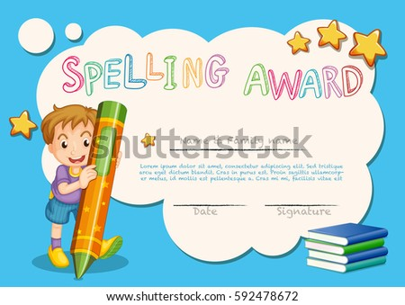 Spelling award template kid book background stock vector 592478672 spelling award template with kid and book in background illustration yelopaper Image collections