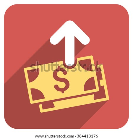 Spend Money long shadow vector icon. Style is a flat symbol on a red rounded square button.