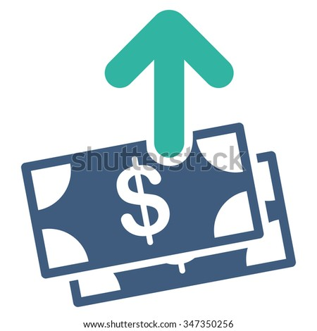 Spend Money vector icon. Style is bicolor flat symbol, cobalt and cyan colors, rounded angles, white background. - stock vector