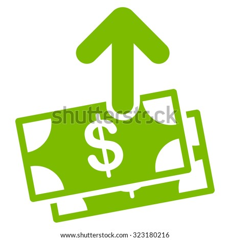 Spend Money vector icon. Style is flat symbol, eco green color, rounded angles, white background.