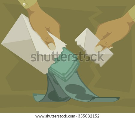 Spending a lot of money out of the envelope - stock vector