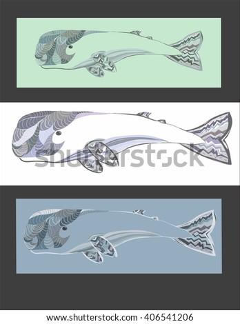 Sperm whale set, green, blue, white geometric illustration. - stock vector