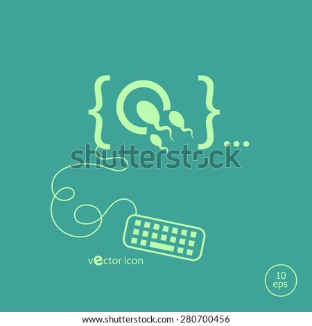 Sperms and egg icon and flat design elements. Design concept icons for application development, web page coding and programming,  web design, creative process, social media, seo. - stock vector