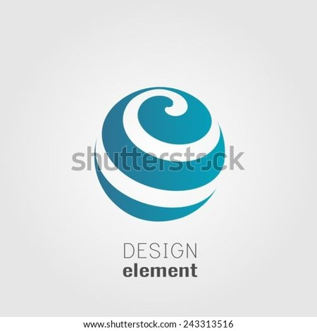 Sphere abstract lines vector logo design template - stock vector