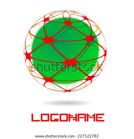 Sphere Abstract Vector Logo Design Template. Green Glossy Sphere Surrounded with a Red Stripes . Business Technology Circle Icon . New Ecology Creative Idea .  - stock vector