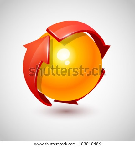 Sphere and arrow - stock vector