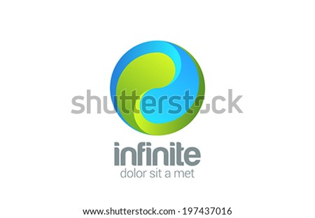Sphere Circle looped infinity vector logo design template. Corporate Business Yin Yang creative concept icon. - stock vector