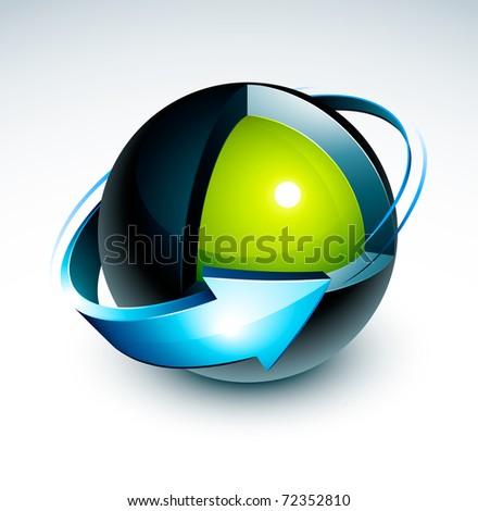sphere 3d design with blue arrow - stock vector