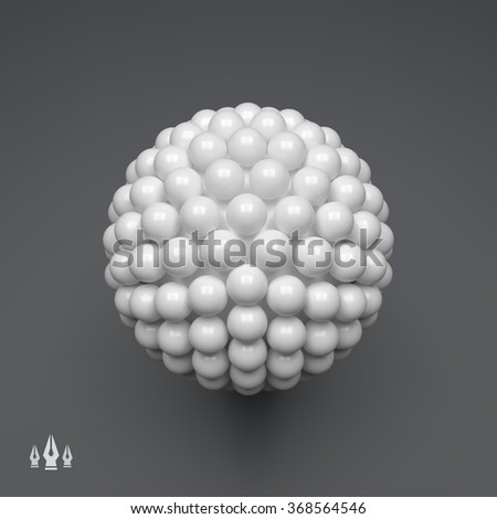 Sphere. 3d Vector Template. Abstract Illustration. 3d Abstract Spheres Composition. Futuristic Technology Style. Idea Concept. Vector illustration for Science, Technology, Web Design and Network