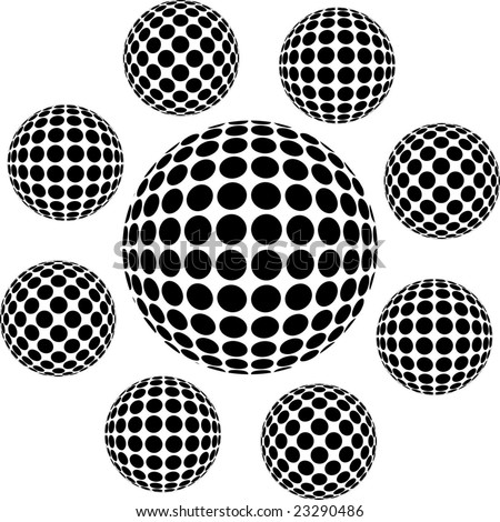 sphere dot black - stock vector
