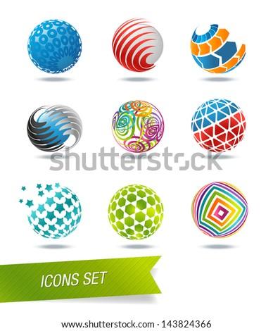 Sphere icon set - stock vector
