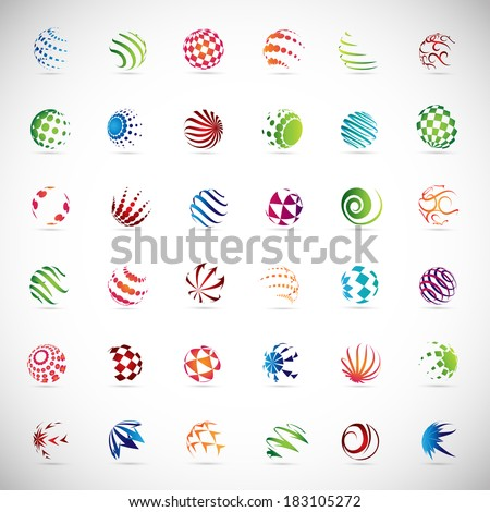 Sphere Icons Set - Isolated On Gray Background - Vector Illustration, Graphic Design Editable For Your Design, Flat Icons - stock vector