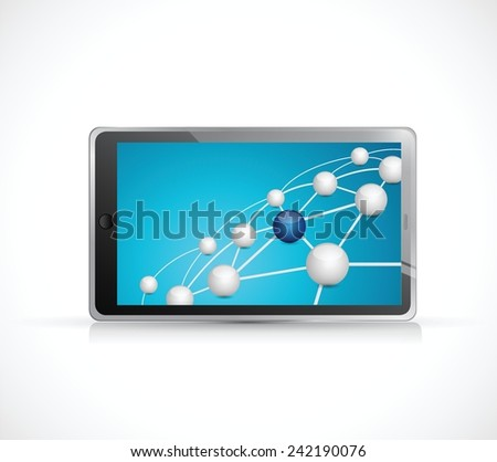 sphere link and connections network on a tablet illustration design over a white background - stock vector