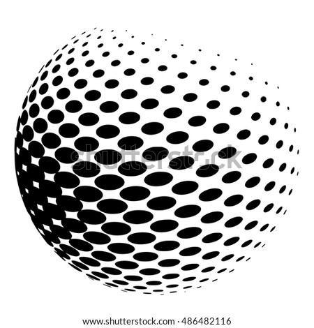 Sphere of halftone dots on white, vector illustration