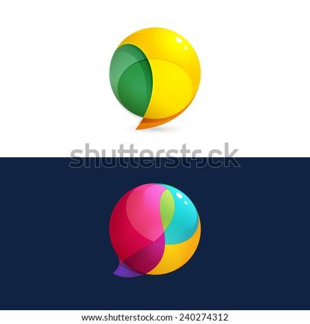 Sphere Speech Bubble logo  - stock vector