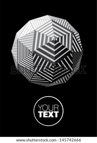 Sphere with black and white triangular striped faces for graphic design - stock vector