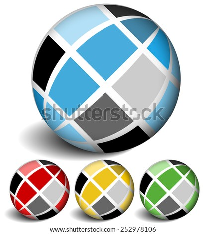 Spheres with tile surfaces - stock vector