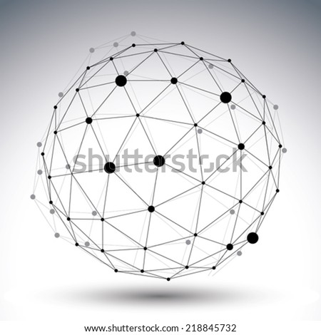 Spherical abstract black and white lined 3D illustration, vector digital eps8 lattice messy technology object. - stock vector