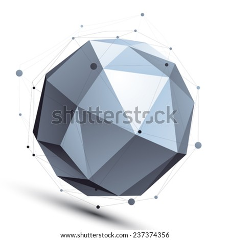 Spherical 3D abstract object with connected lines and dots isolated on white background. - stock vector