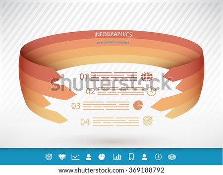 Spherical presentation template with four options and a set of icons - stock vector