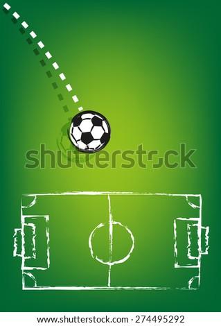 Spherical Soccer Ball Thrown on a field chalk drawing. Editable EPS10 Vector  - stock vector