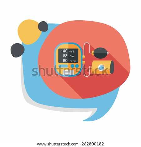 sphygmomanometer blood pressure flat icon with long shadow,eps10