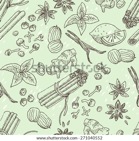 spice seamless vector hand-drawn background