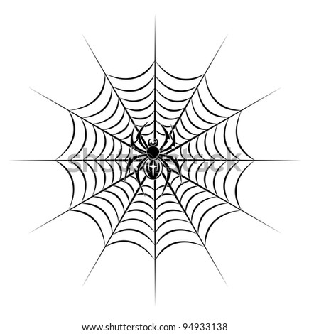 spider on web in tribal style for tattoo. Vector illustration - stock vector