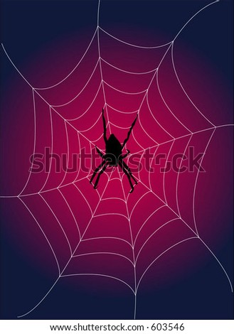 Spider waiting in her web over graduated background (vector) - stock vector