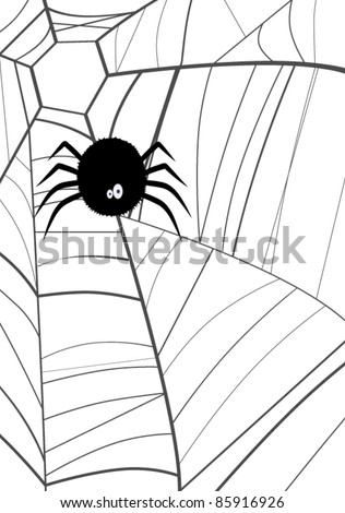 Spider web. Halloween vector. White background - stock vector