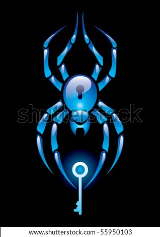 Spider with key - stock vector