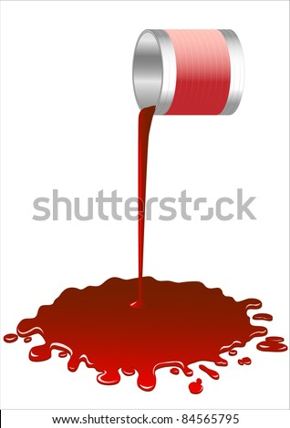 Spilled red paint from a bucket.Vector - stock vector