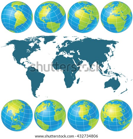 Spin Globes Collection. Vector Image. Ready for Your Text and Design. Set of Globe Icons Showing Earth with all Continents - stock vector