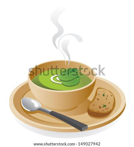 Spinach soup - stock vector