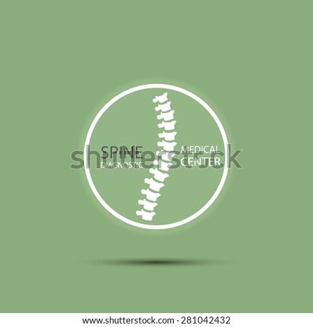 Spine diagnostic medical center logo in green color original concept style background - stock vector