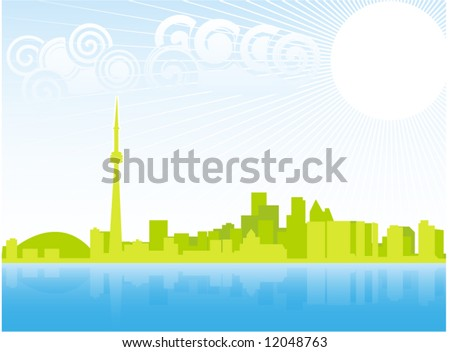Sping in Toronto, Ontario, Canada, vector skyline illustration - stock vector