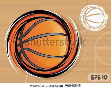 Spinning Basketball Icon/Basketball Team Mascot - stock vector