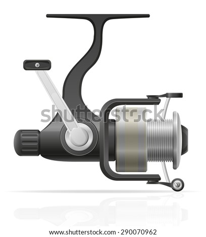 spinning reel for fishing vector illustration isolated on white background - stock vector
