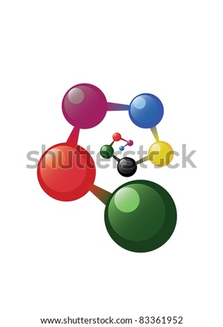 Spiral atom model on the white background - stock vector