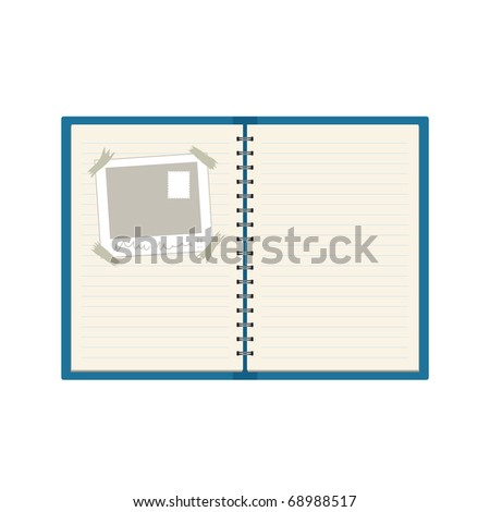 Spiral Bound Scrapbook / Diary - stock vector