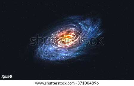 Spiral Galaxy on Cosmic Background. Vector illustration for your artwork - stock vector