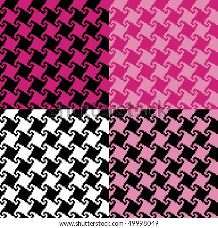 Spiral houndstooth pattern in four colorways. - stock vector