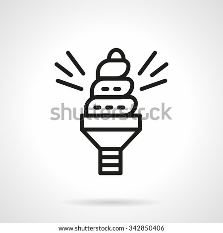Spiral light bulb. Saving energy objects, symbols and ideas. Ecology concept. Black line style vector icon. Single web design element for mobile app or website. - stock vector