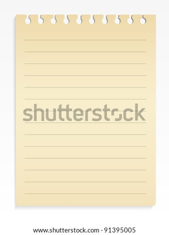 Spiral lined notepad sheet - stock vector