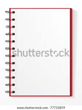 Spiral notebook  with tear leaves - stock vector