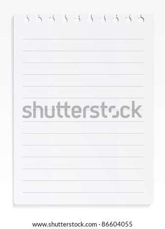 Spiral notepad sheet on white background - stock vector