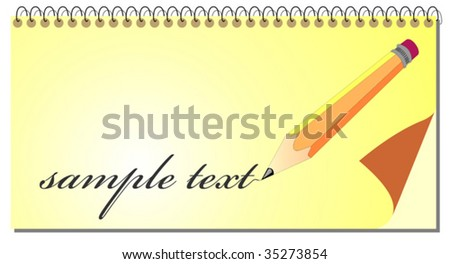 Spiral notepad with pencil. - stock vector