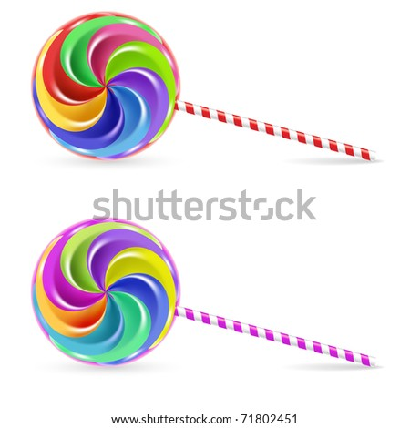 Spiral rainbow lollipop - isolated on white background - stock vector